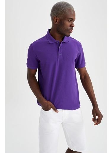 DeFacto Polo Yaka Regular Fit Basic T-shirt Mor